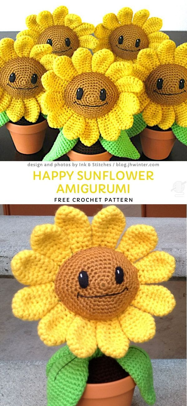 Happy Sunflower Amigurumi Free Crochet Pattern