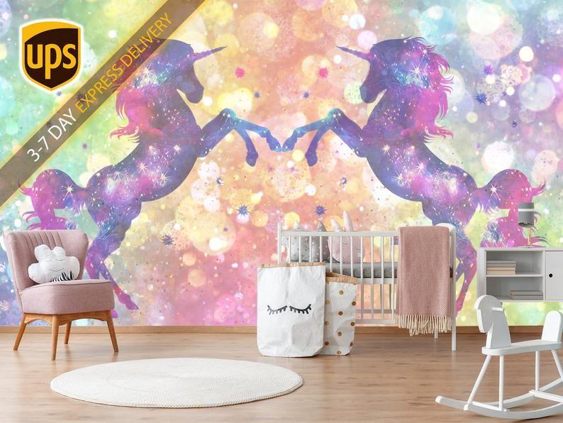 Unicorn Pattern Wallpapper Removable Peel Stick Unicorn Etsy In 2020 Unicorn Wall Decal Nursery Wallpaper Unicorn Wallpaper