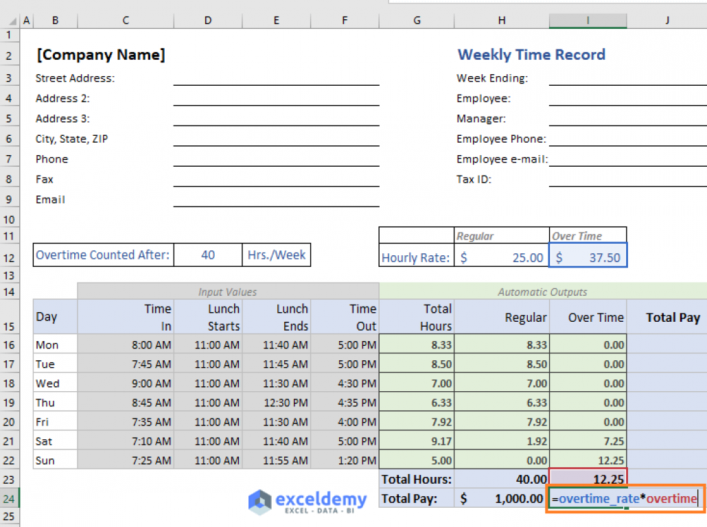 Excel Formula To Calculate Hours Worked And Overtime With Template Excel Formula Microsoft Excel Formulas Excel