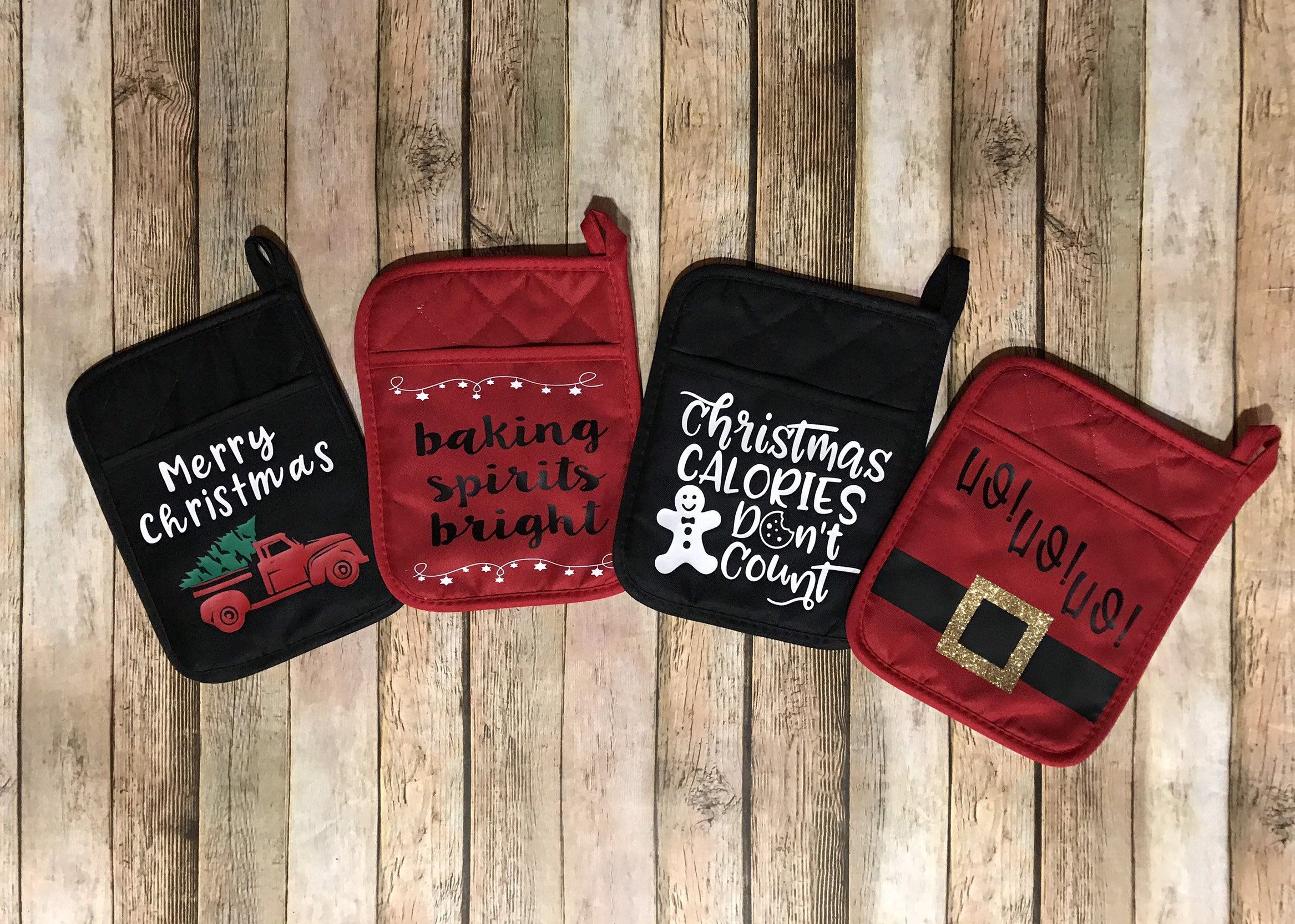 Christmas Pot Holders Christmas Hot Pads Custom Pot Holders Christmas Gift Teacher Gi Christmas Pots Personalized Kitchen Gifts Teacher Christmas Gifts