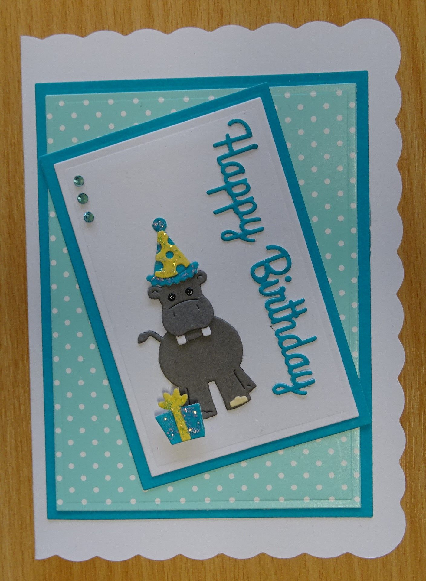 Handmade Birthday Card Cottage Cutz Hippo Die With Present
