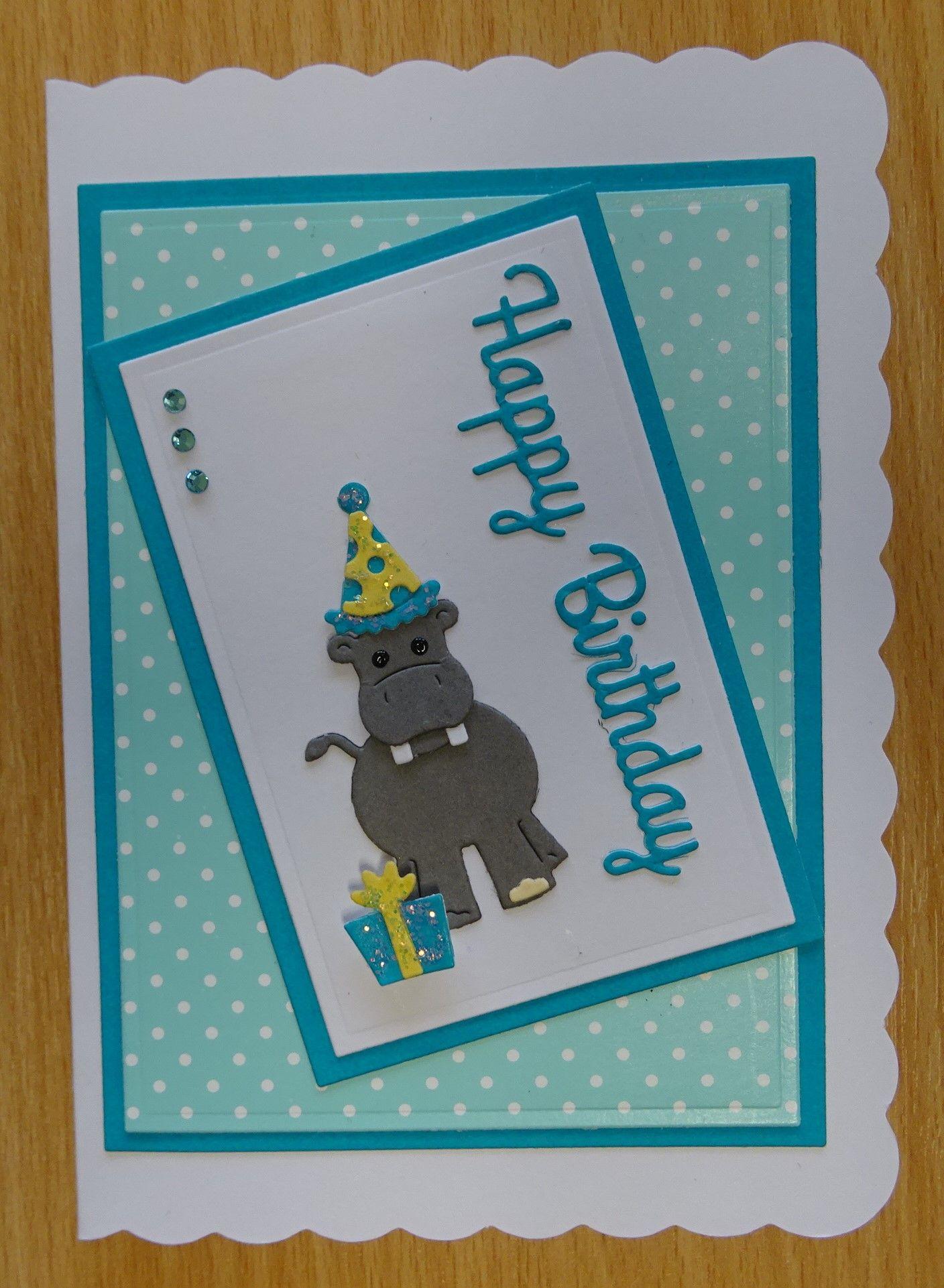 Handmade Birthday Card Cottage Cutz Hippo Die With Present