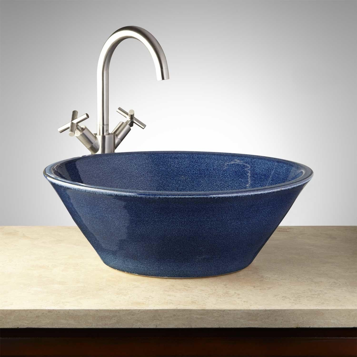 Hartwick Hand Glazed Pottery Vessel Sink Ocean Blue With Images