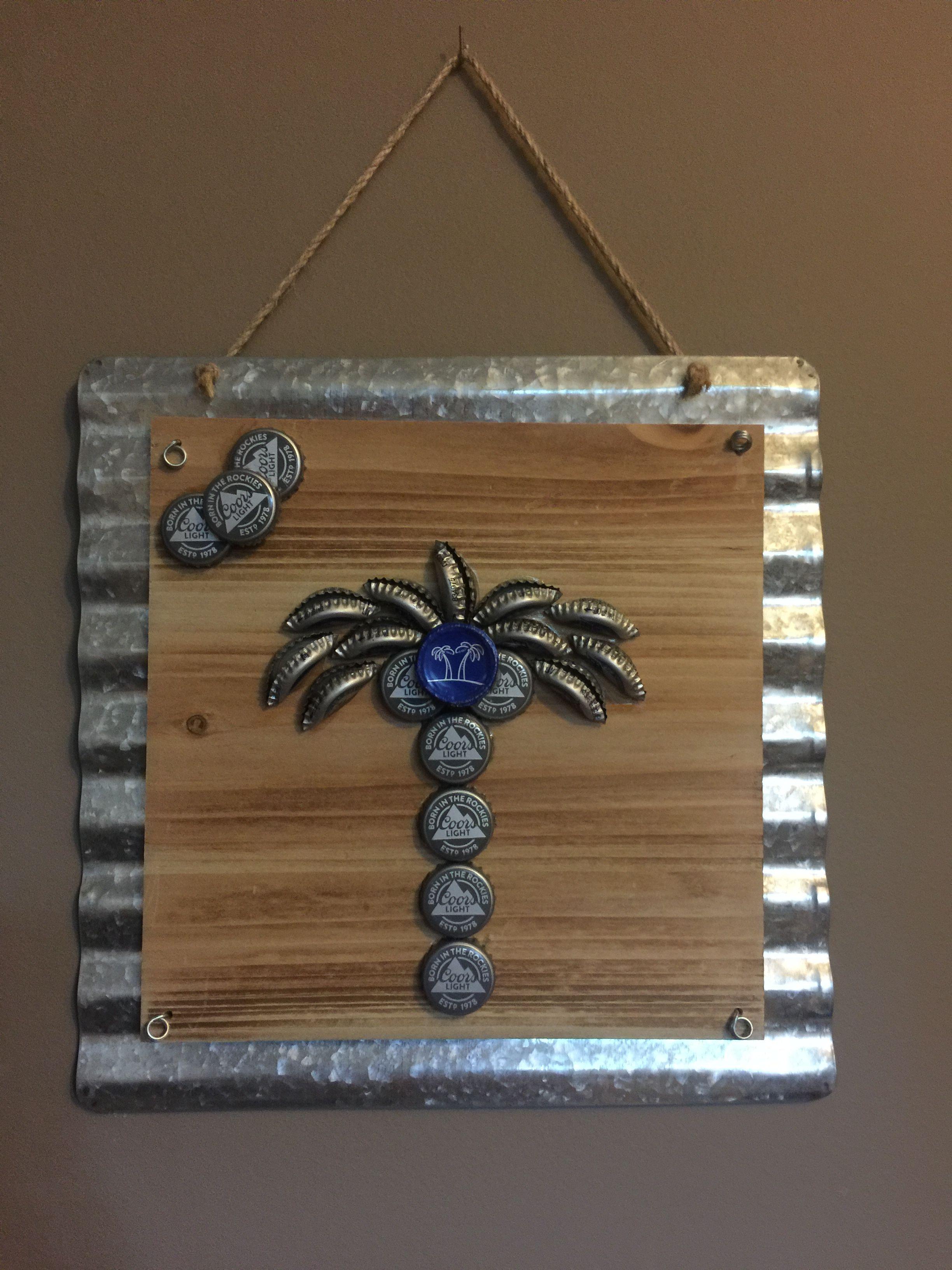 bottle cap palm tree kronenkorken pinterest bierdeckel tisch und selber machen. Black Bedroom Furniture Sets. Home Design Ideas