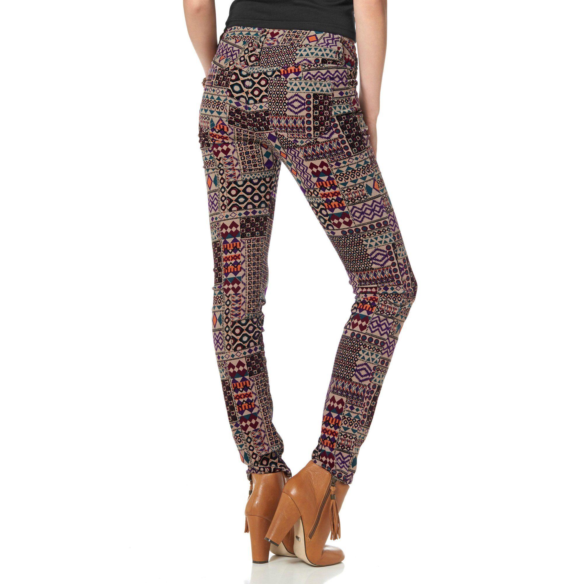 86dc8bc0eaa32 35€ Pantalon slim en velours côtelé stretch imprimé ethnique femme AJC -  3Suisses