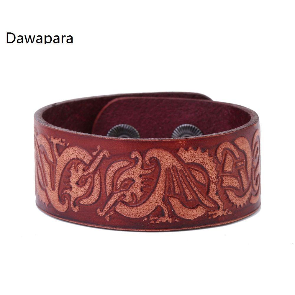 Dawapara double centrosymmetric dragon brown leather mens bracelet