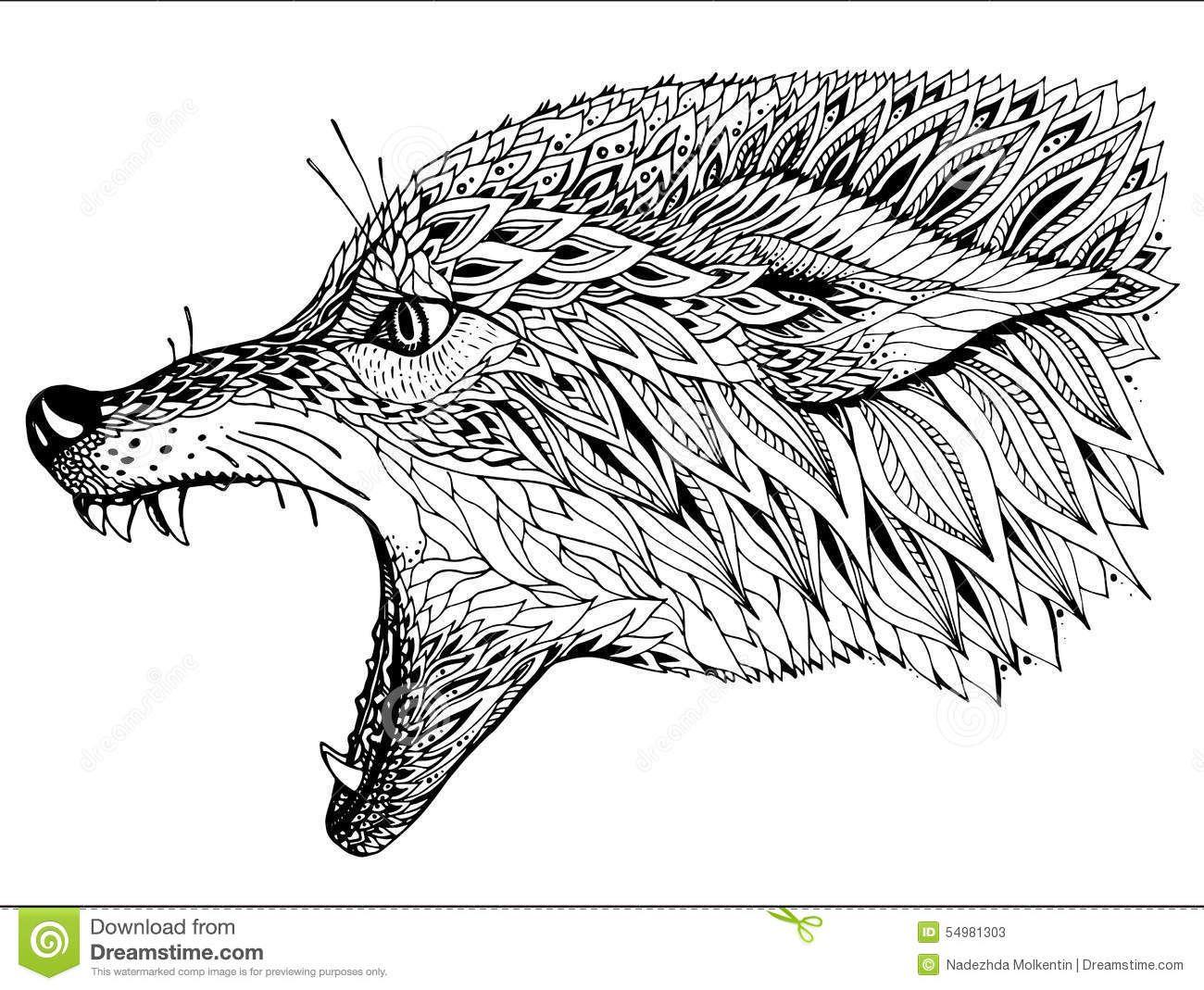 patterned-head-wolf-tribal-ethnic-totem-tattoo-design-hand-drawn ...
