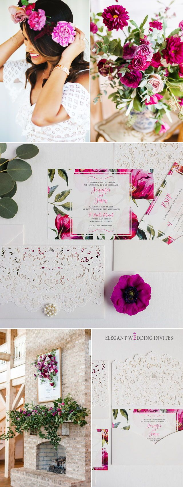 Classic Watercolor Hot Pink Fuchsia Floral Laser Cut Wedding