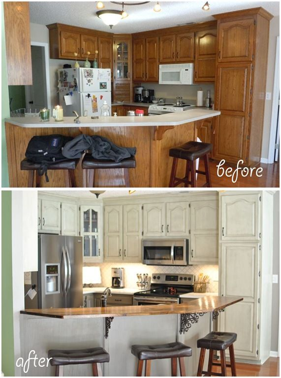 Before and After kitchen renovation DIY two tone gray kitchen