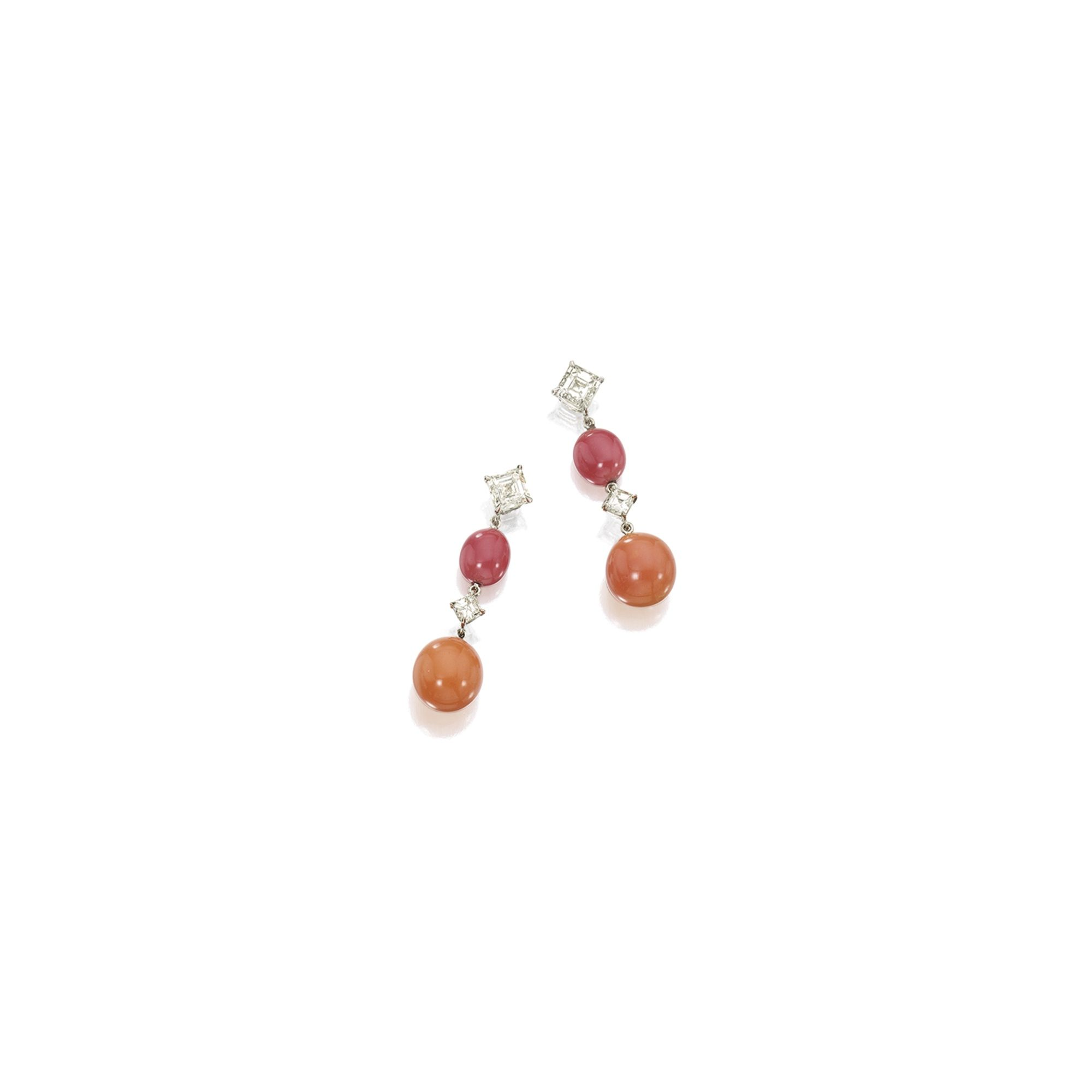 Pair of Conch Pearl and Diamond Pendent Earrings Each suspending an