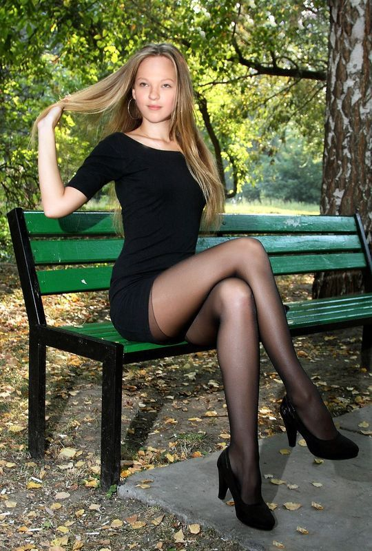 Sexy Black Dress With Sheer Black Pantyhose And Heels