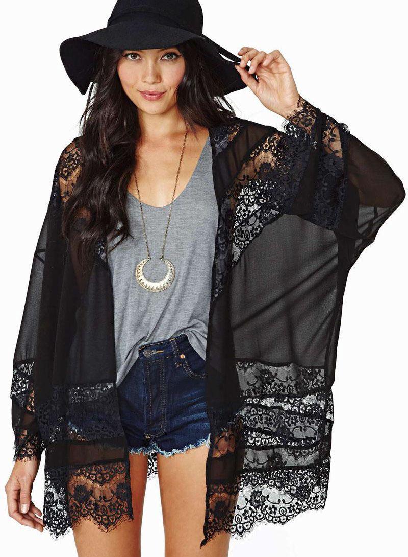 Sheer Lace Chiffon Kimono Romwe   Fashion   Pinterest   Chiffon ...