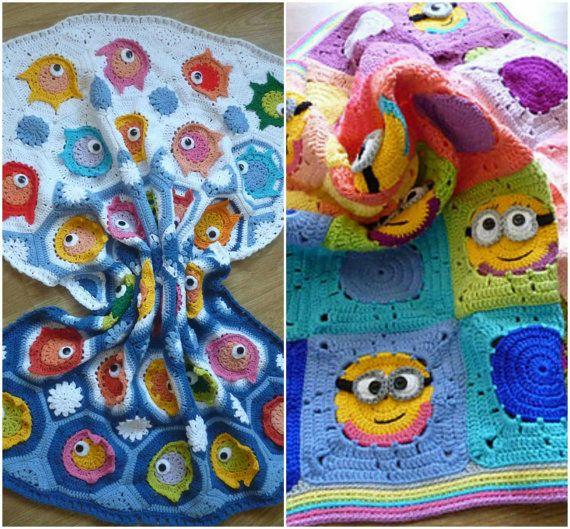 Combo pack of crochet baby blanket pattern por Mydayboutique ...