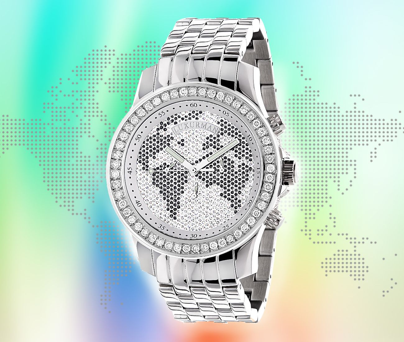 World Map Watches Luxurman Mens Diamondwatch 2 50ct
