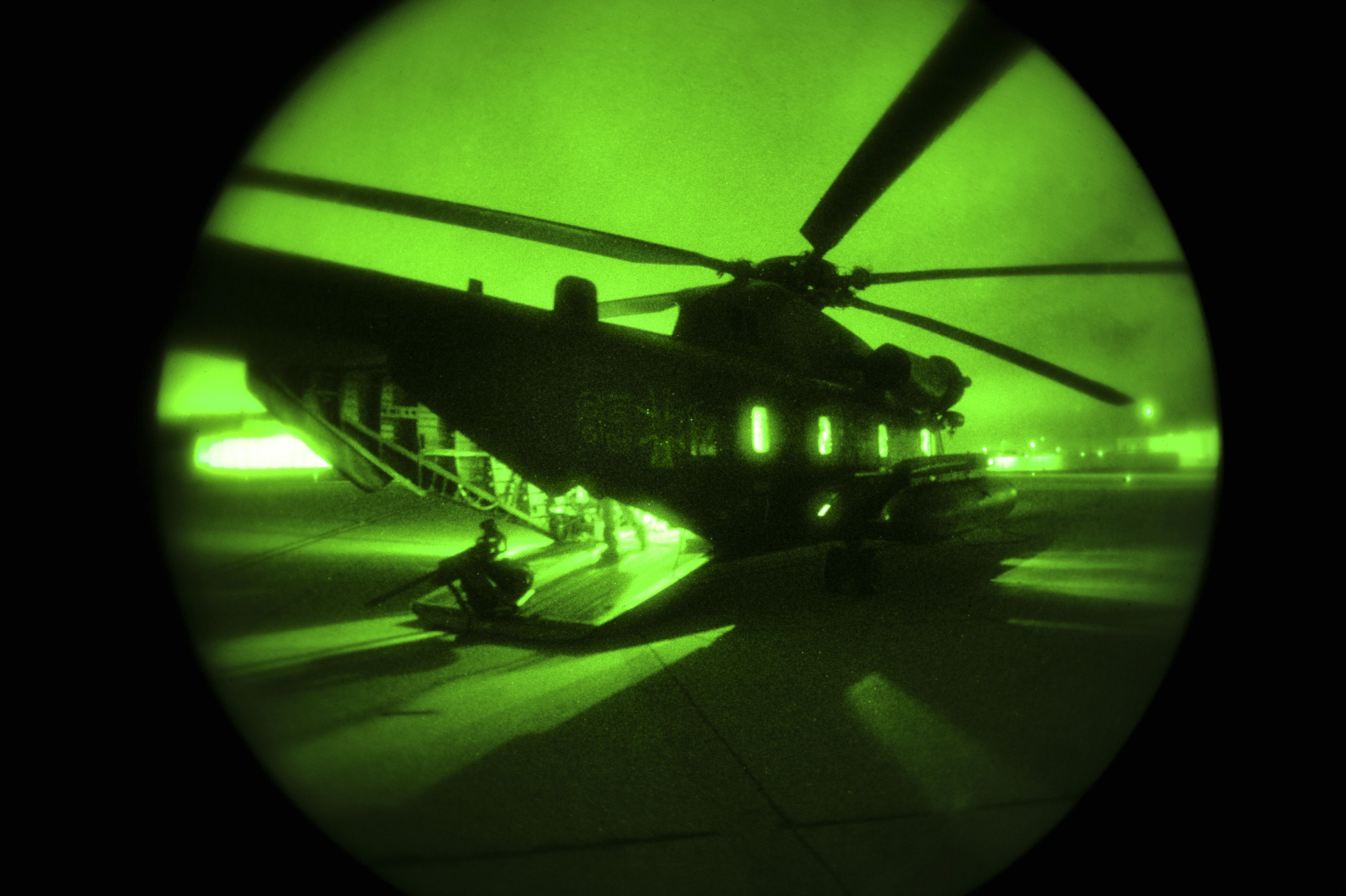 A German Air Force CH-53GS waits to be refueled at Naval Air Station North Island, Calif., during Angel Thunder 2015, June 7, 2015. Angel Thunder is the world's largest personnel recovery exercise. D-M hosted 11 partner nations and nine interagencies with a common goal to train personnel recovery forces to prepare, plan, execute and adapt for rescue missions. (U.S. Air Force photo by Airman 1st Class Chris Massey/Released)