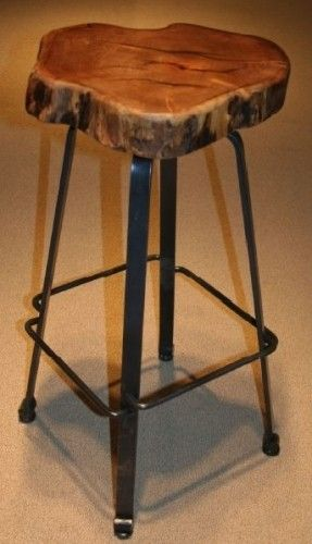 Beautiful Metal Bar Stools with Wooden Seat