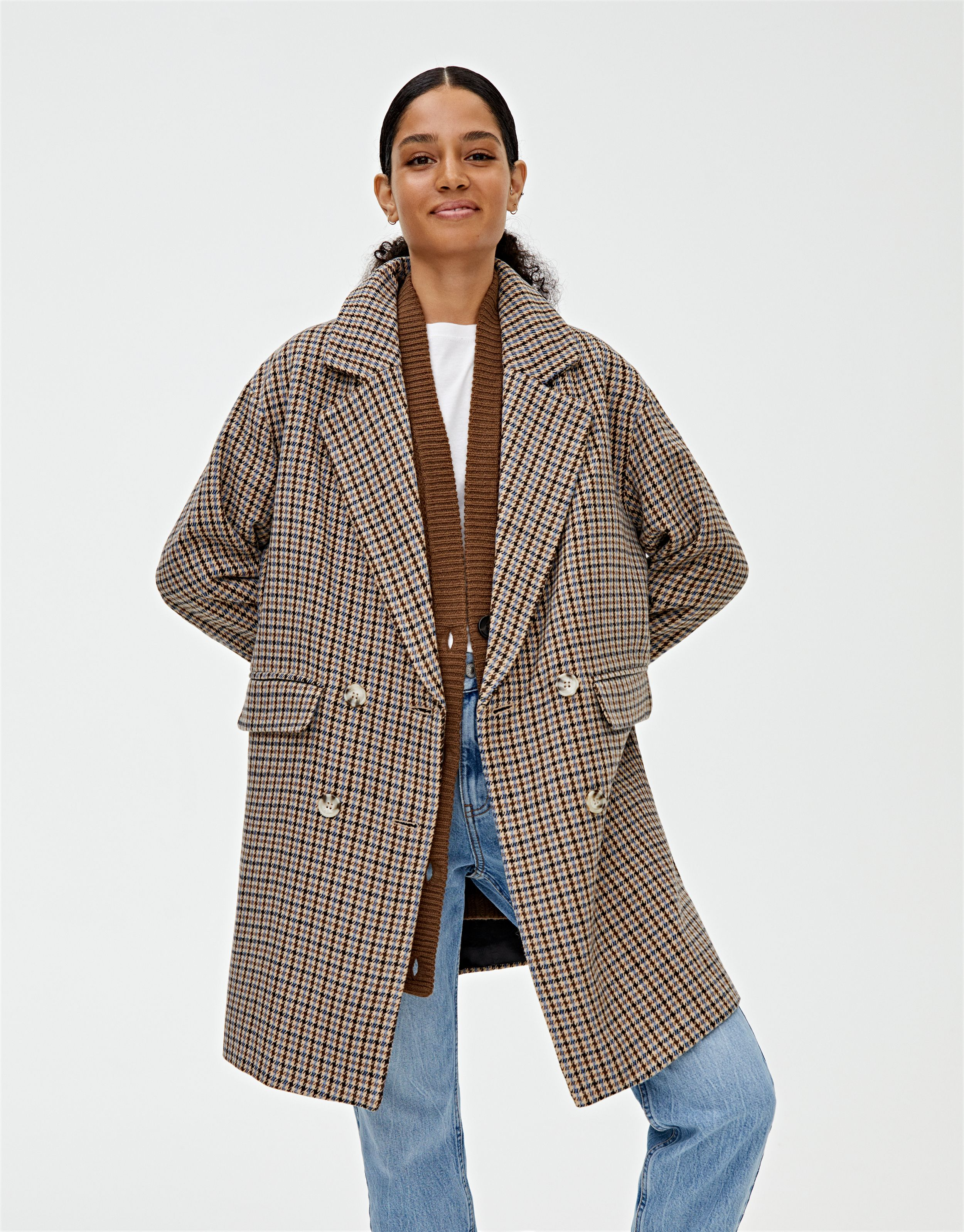 Four Button Synthetic Wool Coat Spring Outerwear Women Coat Outerwear Women [ 3194 x 2500 Pixel ]