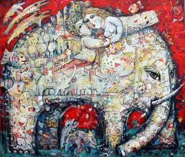 """Saatchi Online Artist Vasily Martynchuk; Painting, """"A walk with an elephant"""" #art"""