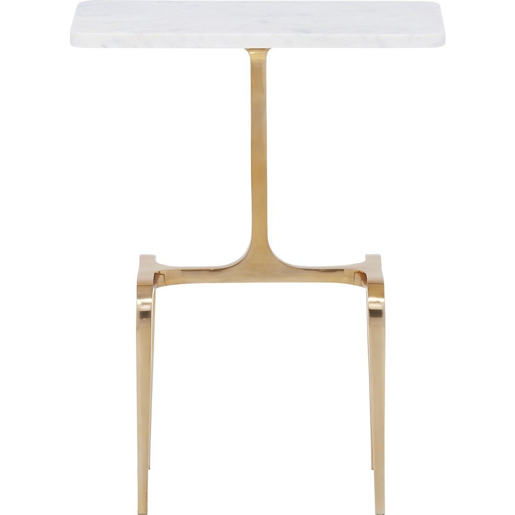 Shop oxford marble side table.   Elegant and sculptural with a found feel.  Smooth Banswara marble tops a gilded base that curves to the floor with a sleek swoop.  Staged sofa-side or near the entry, it's the ultimate conversation starter.