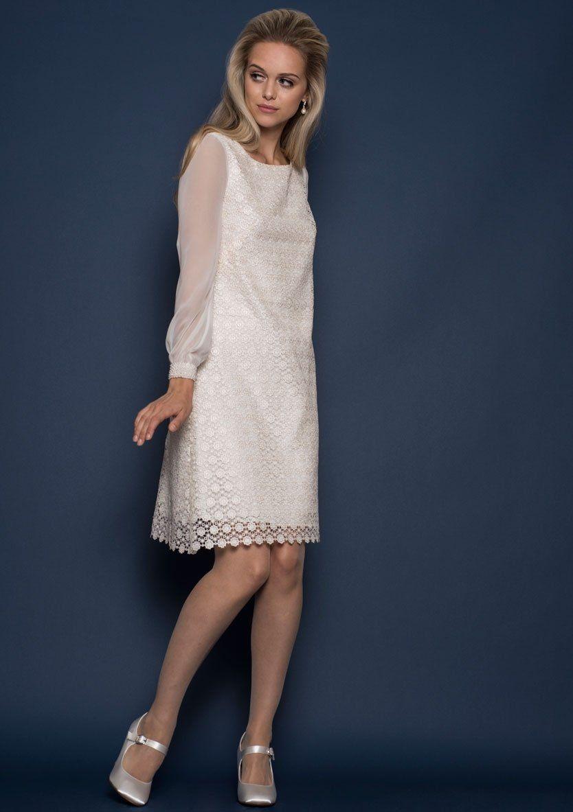 Loelle classic sixties styled knee length guipure wedding dress