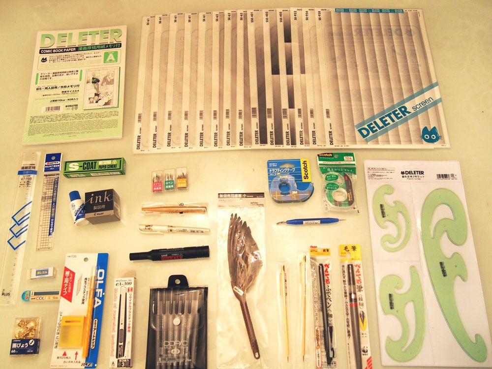 Manga Drawing Material Set Jpg 1000 750 Manga Artist Artist Materials Artist Supplies