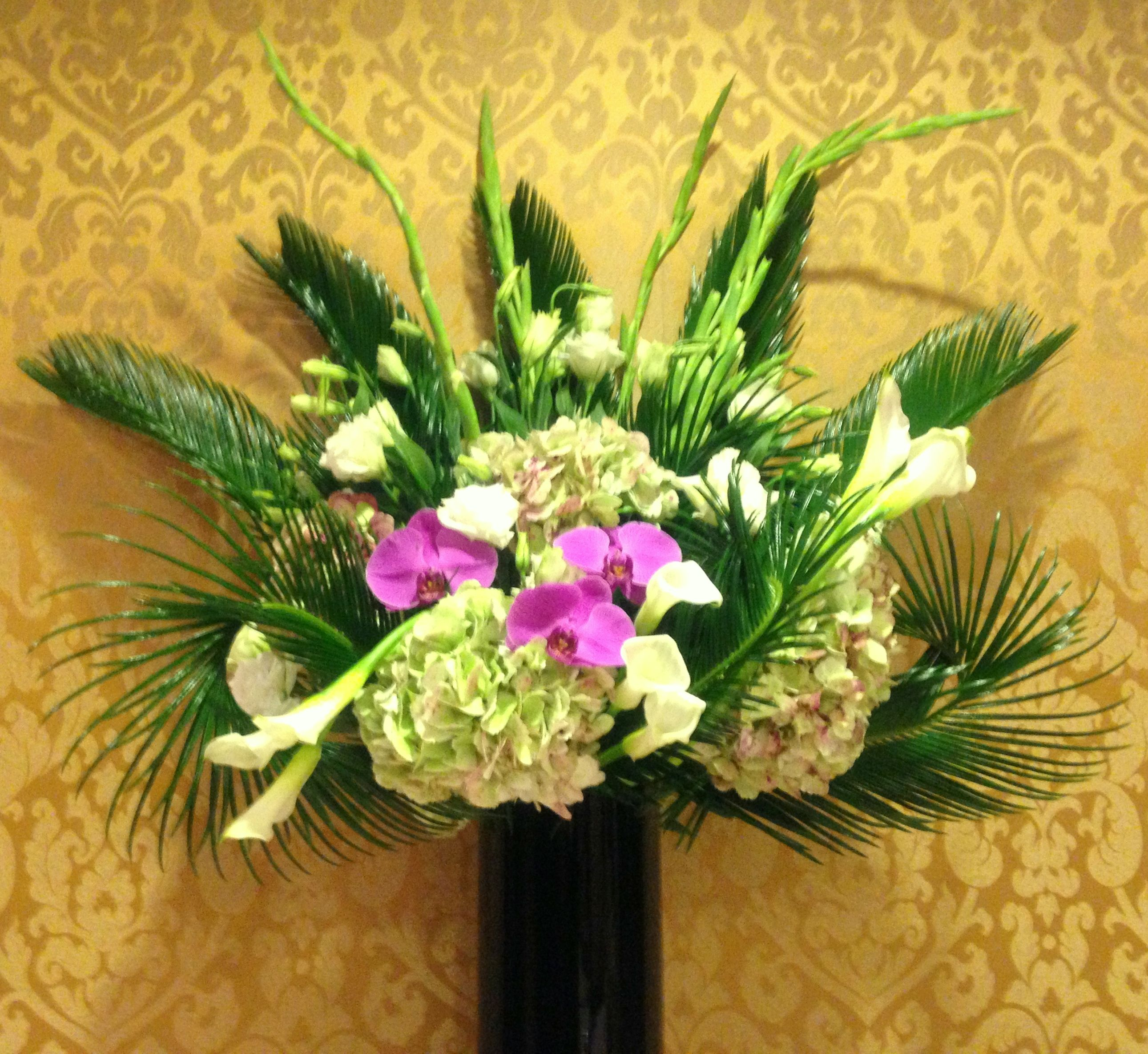 Hotel Lobby Flowers A tall arrangement of Hydrangeas White Callas and Gladiolas and