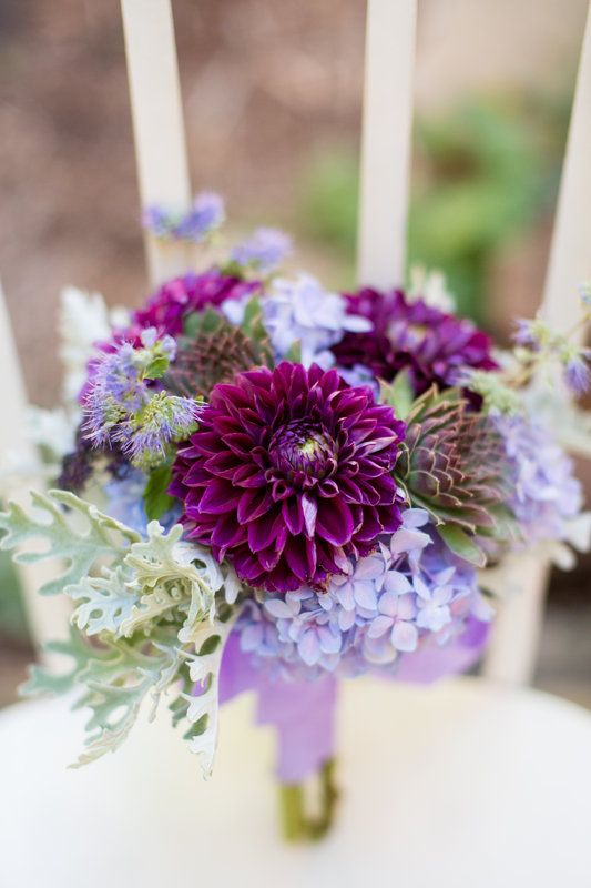 Purple Dahlia Hydrangea Succulent And Dusty Miller Bouquet By Sally Rule Photo