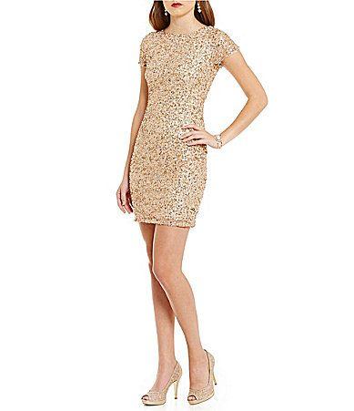 dee7128e5b7c Adrianna Papell Petite ShortSleeve Beaded Cocktail Dress #Dillards ...