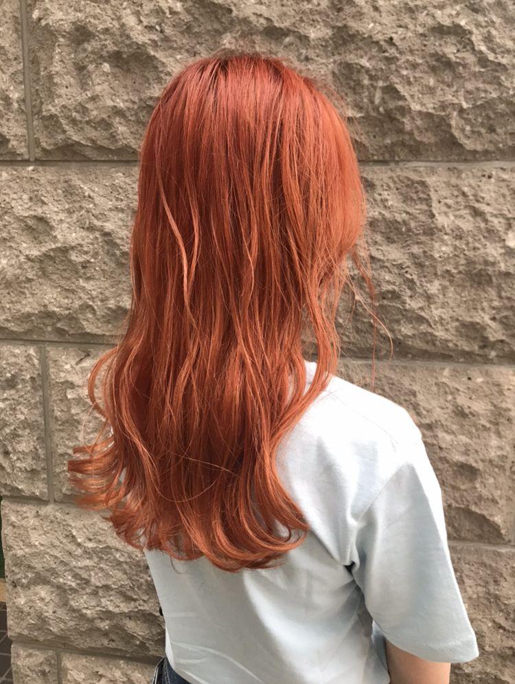ブリーチ2回によるオレンジカラー 髪色 オレンジ 毛髪染料