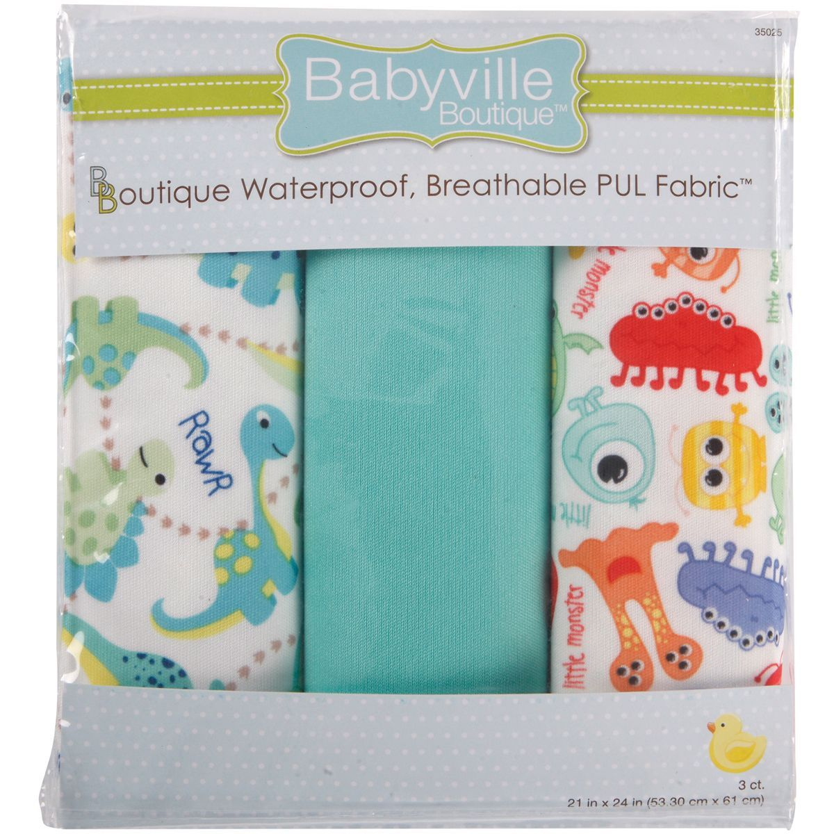 Dritz Babyville PUL Waterproof Diaper Fabric 21inX24in Cuts 3/PkgDinos & Monsters