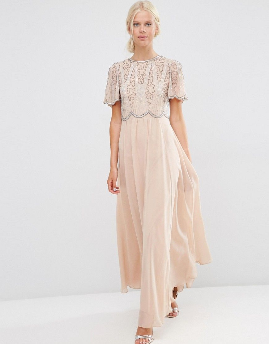 979705485d27 Embellished Scallop Sleeve Maxi Dress | Wedding Dresses | Maxi dress ...