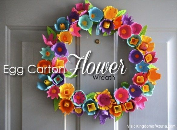 Egg crate flower wreath spring wreath infatuation Egg carton flowers ideas