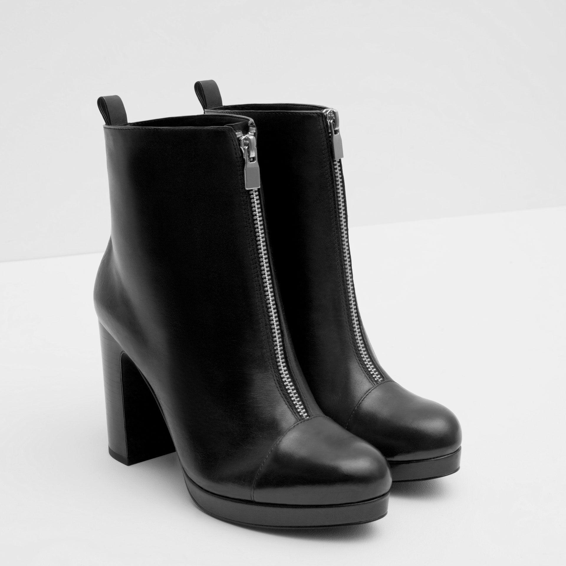 bottines À talon compensÉ en cuir et fermeture Éclair - bottes et