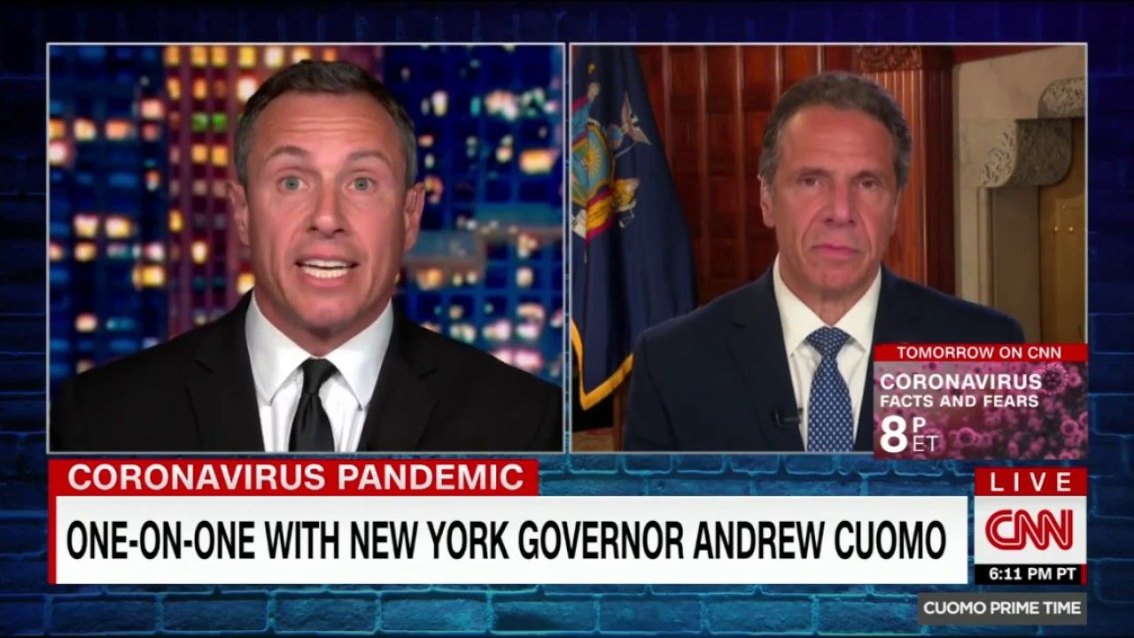 Chris Cuomo Teases Brother With Giant Swab In 2020 Chris Cuomo Cnn Interview