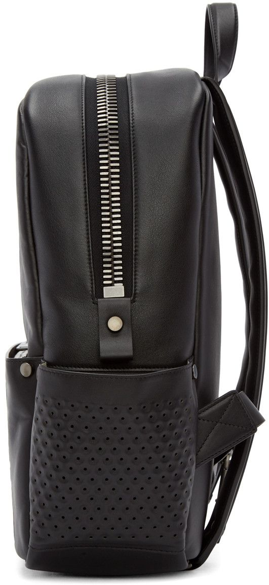 d165e0f627 Calvin Klein Collection - Black Leather Perforated Medium Backpack ...