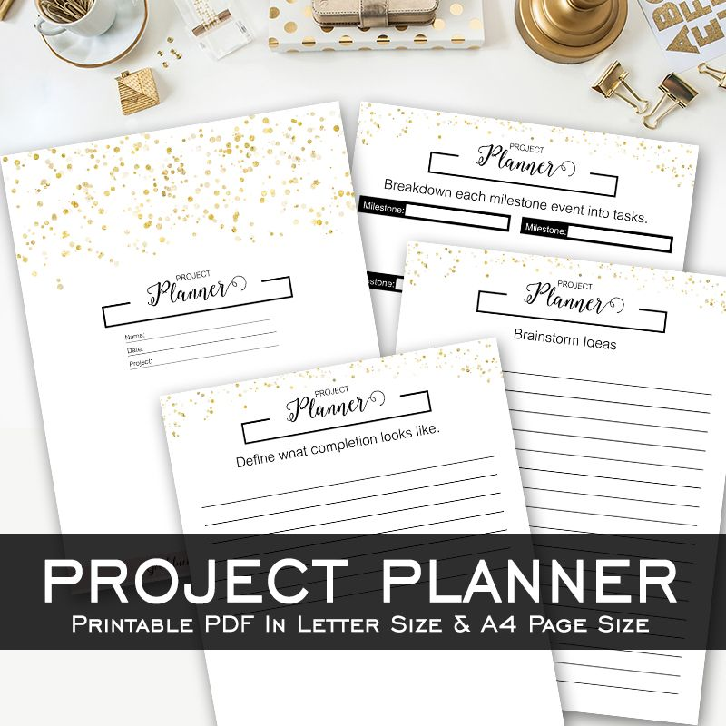 Project Planner - Black  Gold - Printable Template Pinterest