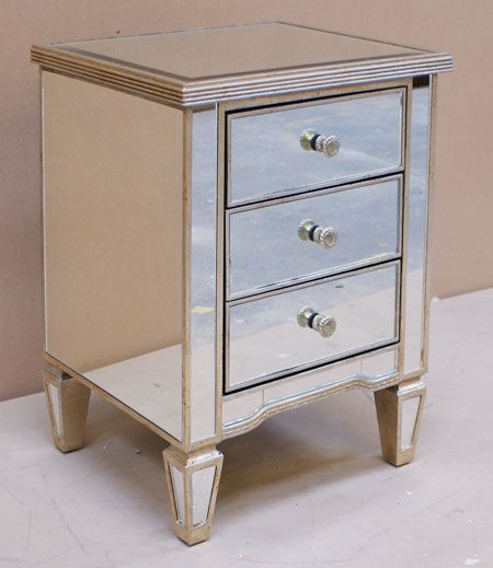 Antique Style Venetian Mirrored 3 Drawer Bedside Table