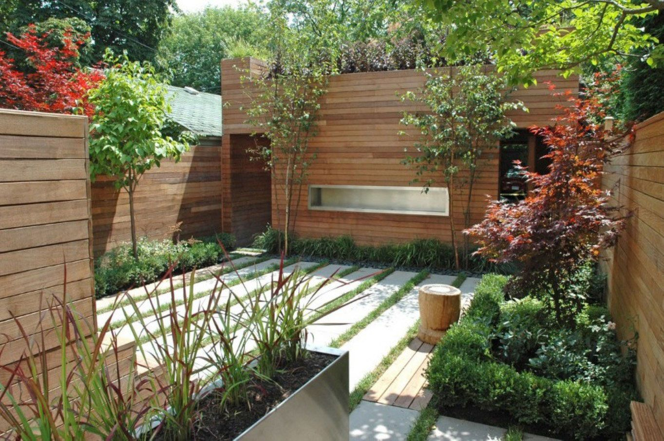 modern small backyard with wooden fence idea plus neat grasses and