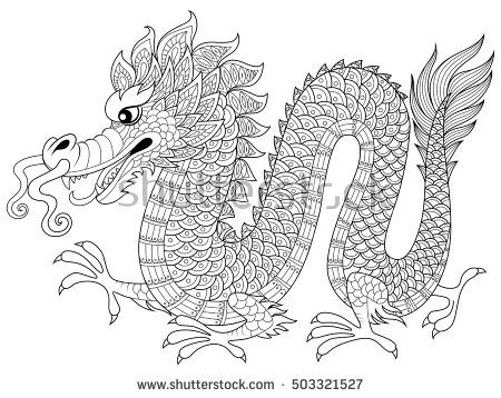 chinese dragon in zentangle style adult antistress coloring page black and white hand drawn