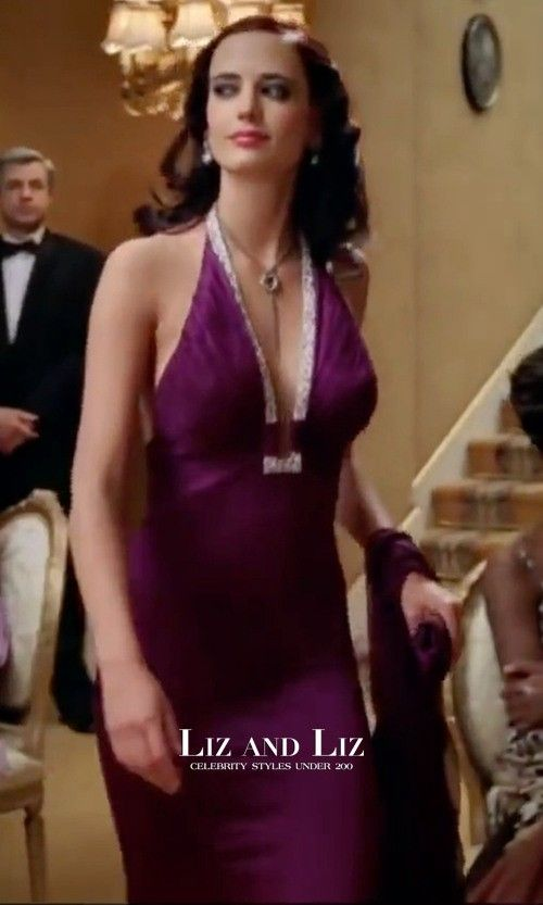 eva green purple halter v neck backless dress casino royale 007 movie eva green pinterest. Black Bedroom Furniture Sets. Home Design Ideas