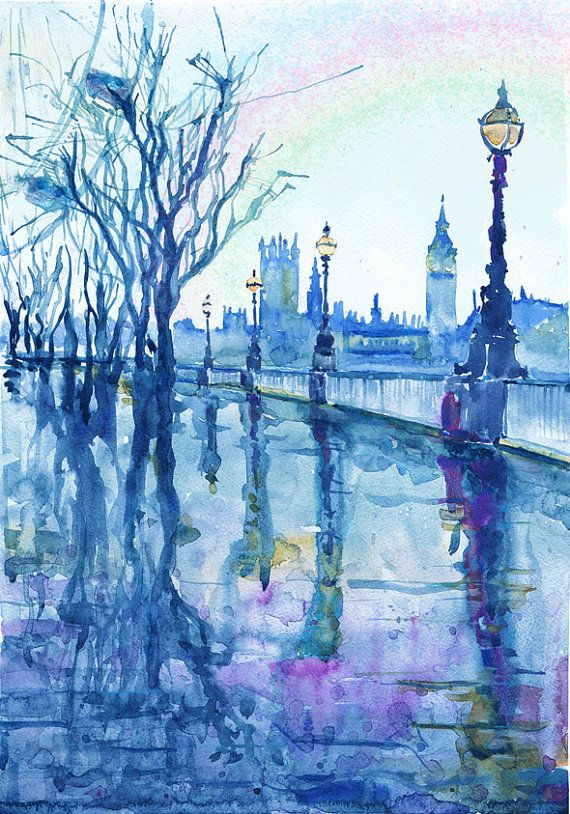 london print big ben watercolor painting london art cityscape