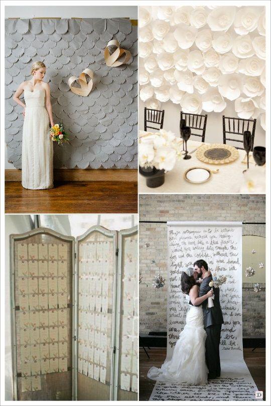 decoration salle mariage cacher un mur ecaille en papier fleur