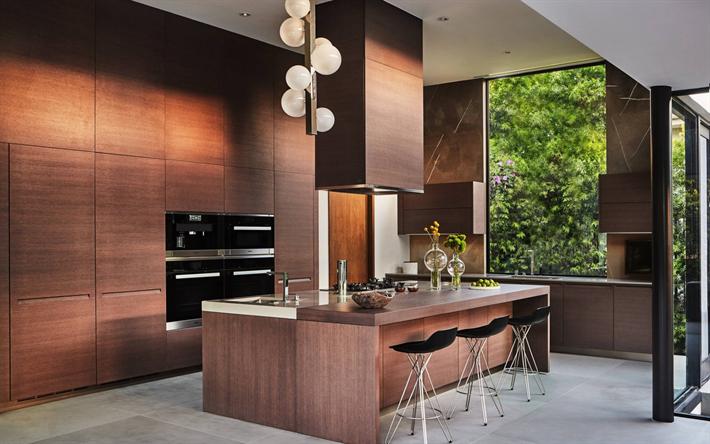 Herunterladen Hintergrundbild Küche Modernen Design, Brown Interieur,  Modernen Und Stilvollen Interieur, Minimalismus,