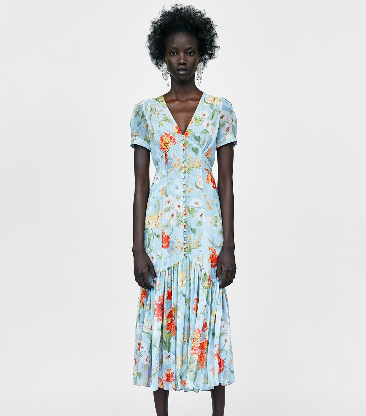 How I Score Unique Items At Goodwill And How You Can Too Floral Print Midi Dress Floral Print Dress Fit N Flare Dress