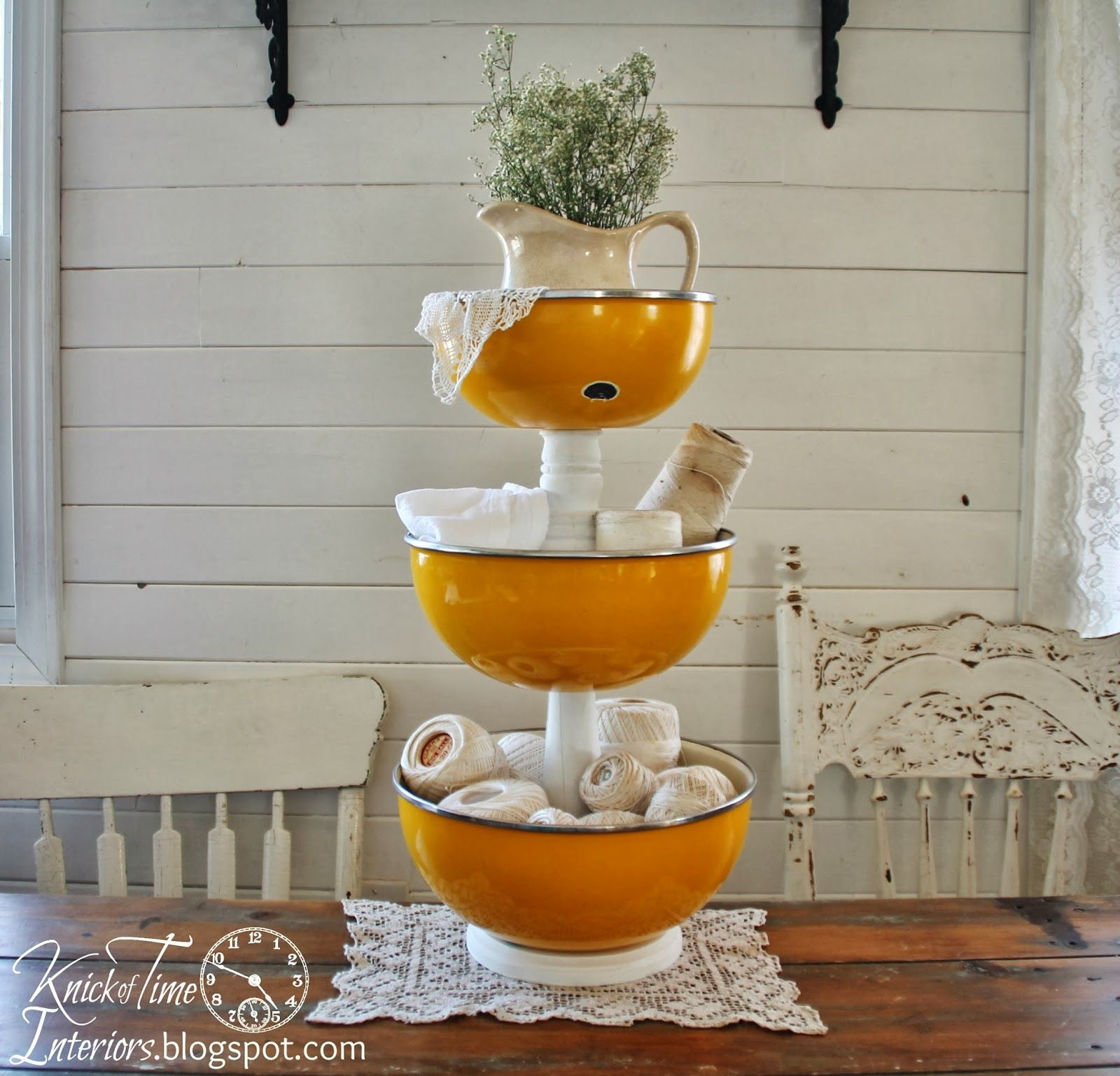 Repurposed Enamelware Bowls into Tiered Storage Stand ~~created by ...