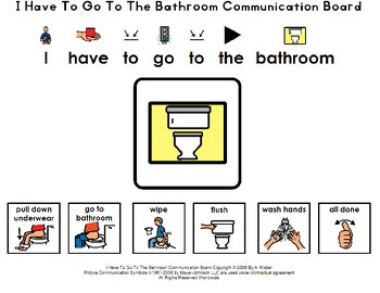 I Have To Go To The Bathroom Communication Board By A Kistler