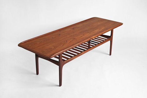 Vintage Teak Surfboard Coffee Table   Mid Century, Modern, Danish, Retro,  Wood