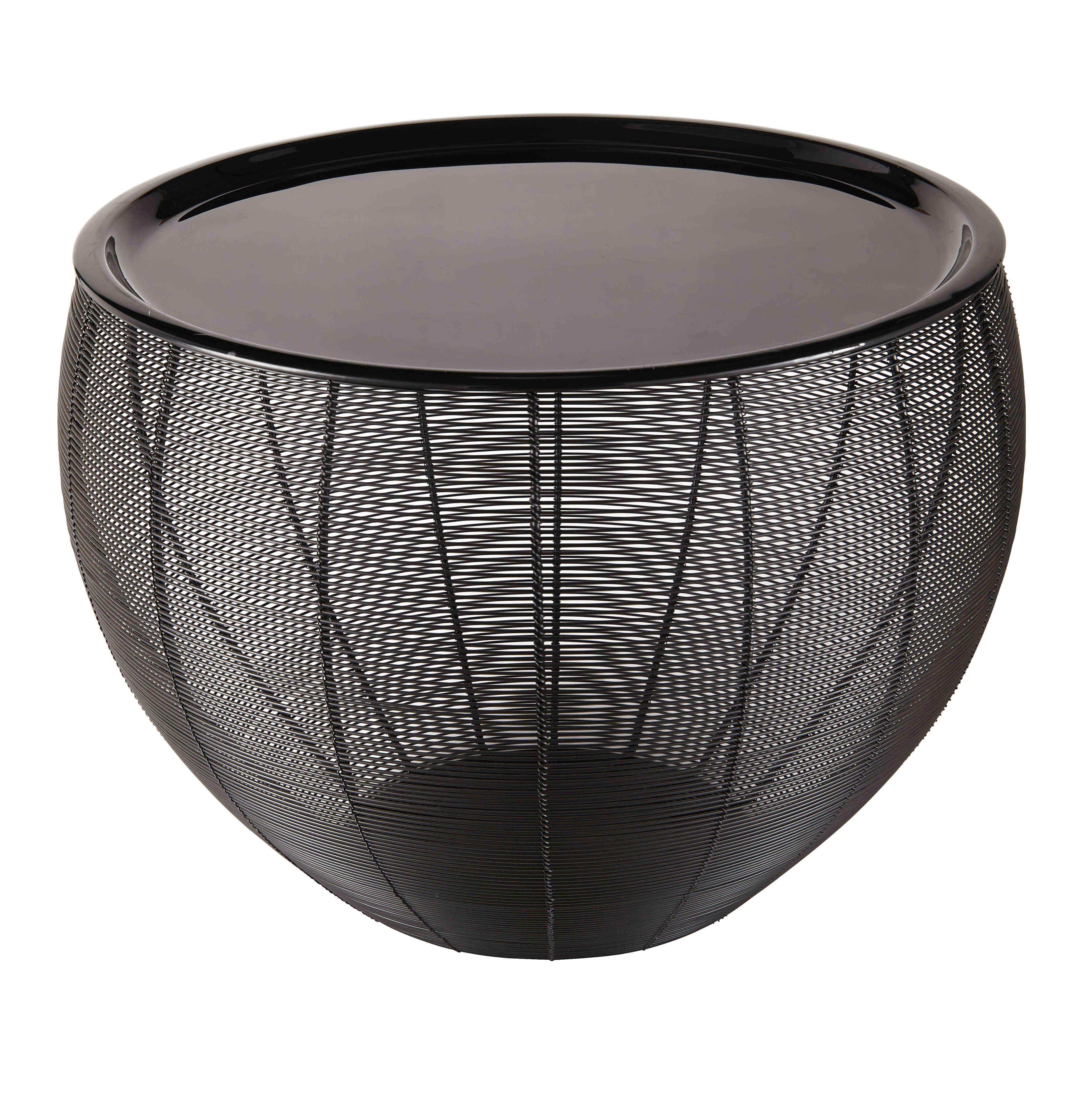 Beistelltisch aus schwarz lackiertem Metall YASSIR