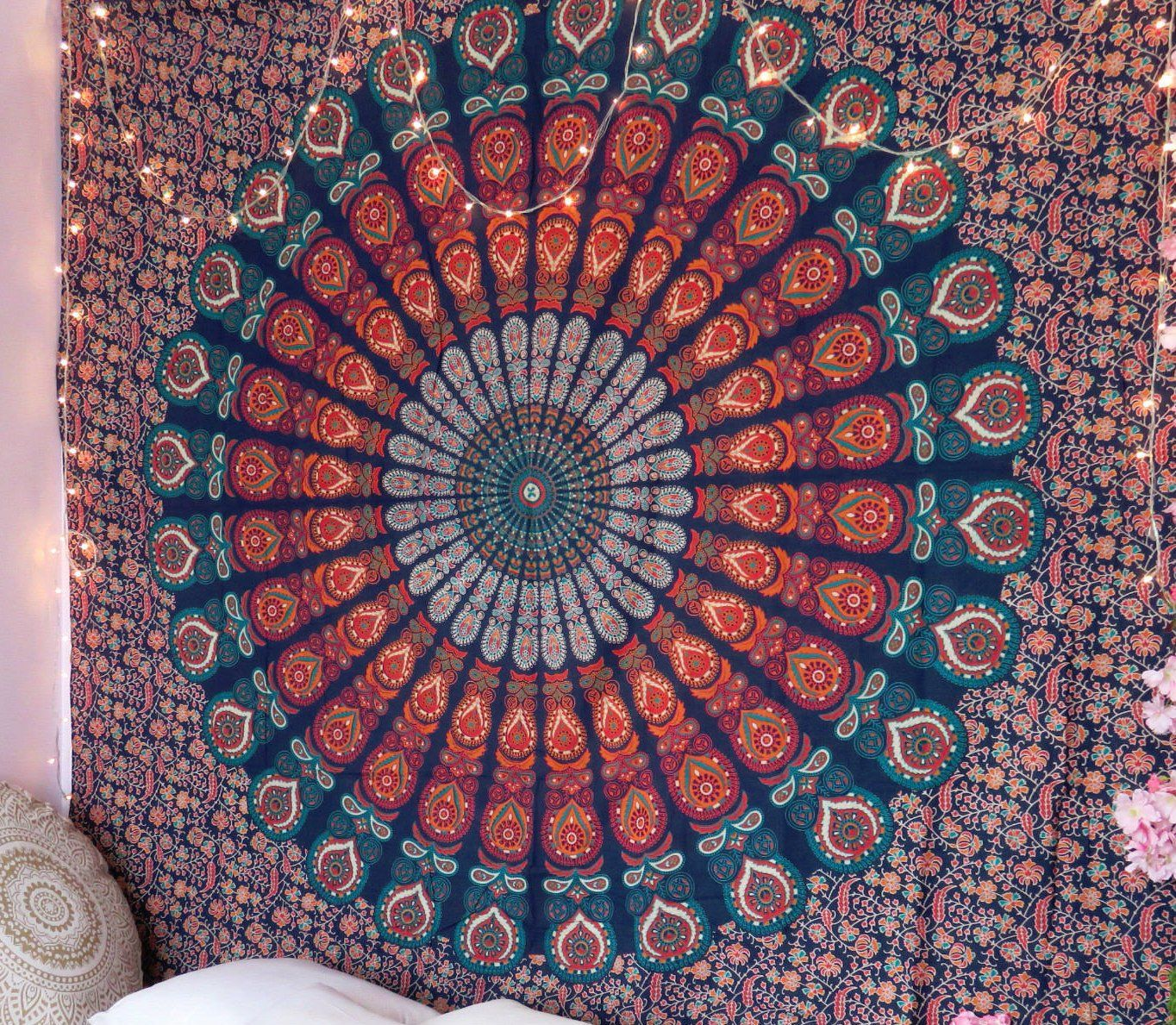 Trippy Mandala Tapestry Hippie Dorm Tapestries Cheap Mandala Wall Hanging Cool Tapestries Wall Art Mandala Tapestry Mandala Tapestries Wall Hangings Tapestry