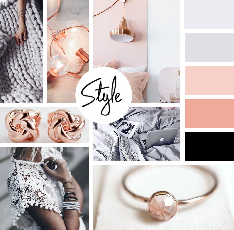 Feminine Moodboard Design With Pinks Branding Website Design Mood Board Design Rose Gold Color Palette